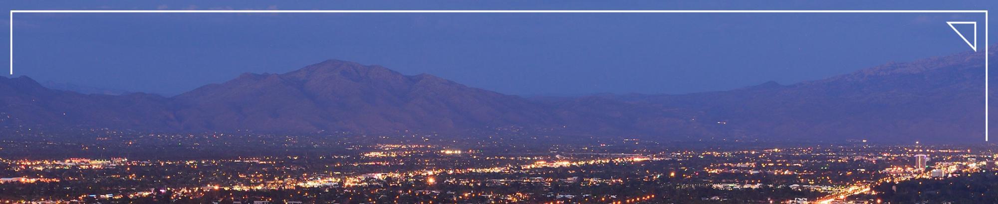 desert city at night in Arizona Mexico borderlands